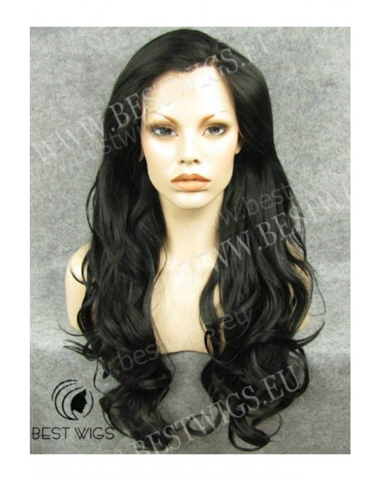 Synthetic lace front wig Curly brown long hair