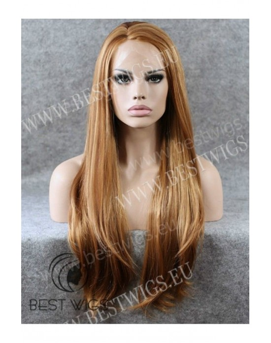 Synthetic lace front wig Stright chestnut long hair (with side part) (rigid lace)