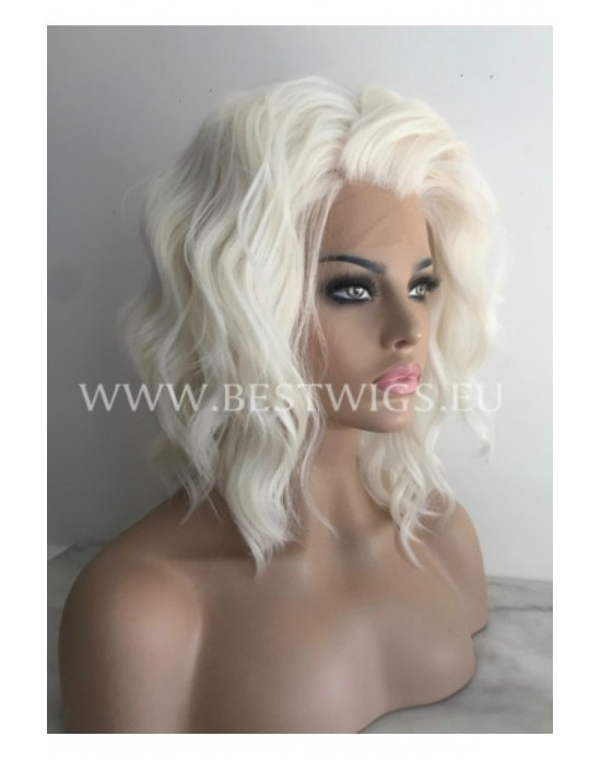 Synthetic lace front wig Curly blond hair