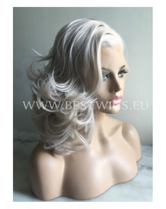 Synthetic lace front wig Wavy blond (grey) medium hair