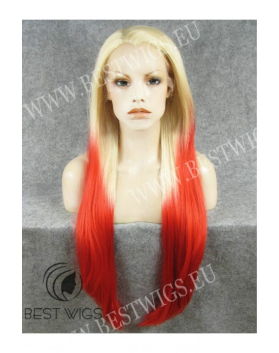 Synthetic lace front wig Stright blond super long hair with dark roots
