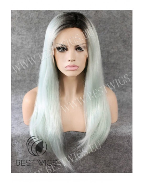 Synthetic lace front wig Stright blond long hair dark roots (with side part)