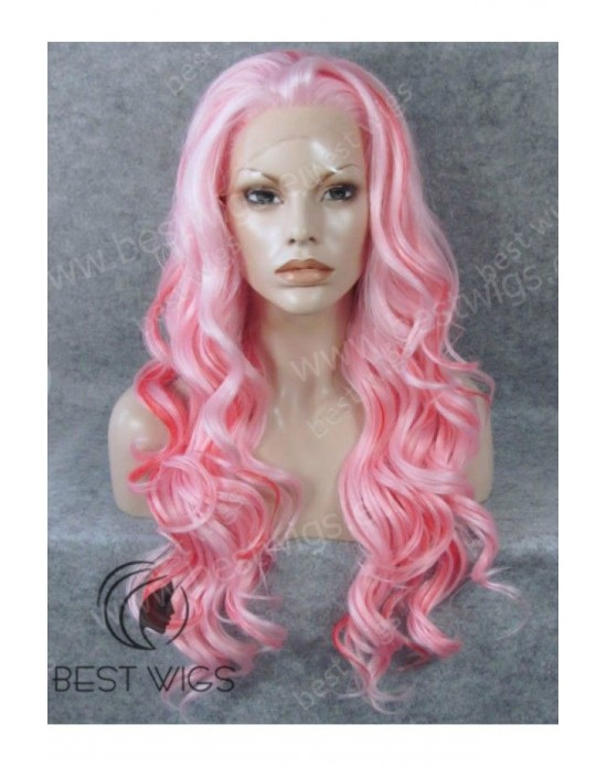 Synthetic lace front wig Wavy pink long hair