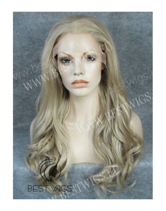 Synthetic lace front wig Wavy blond long hair