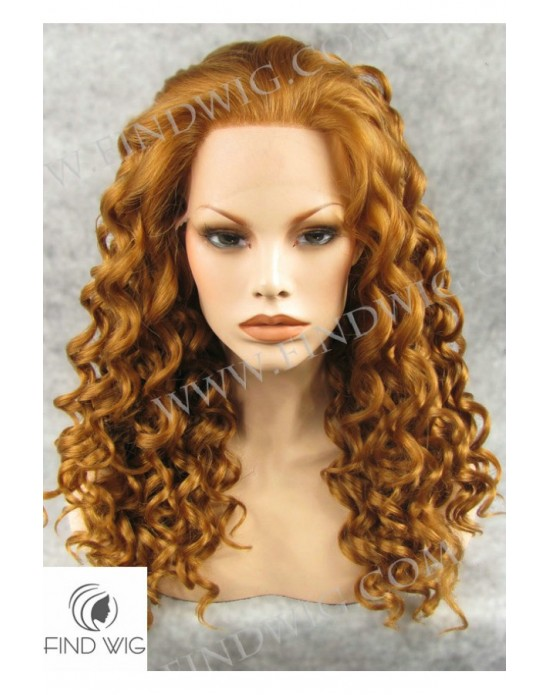 Synthetic lace front wig Curly chestnut long hair