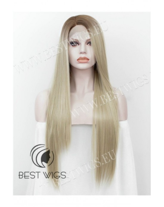 Synthetic half-lace wig Stright blond long hair dark roots (with side part)