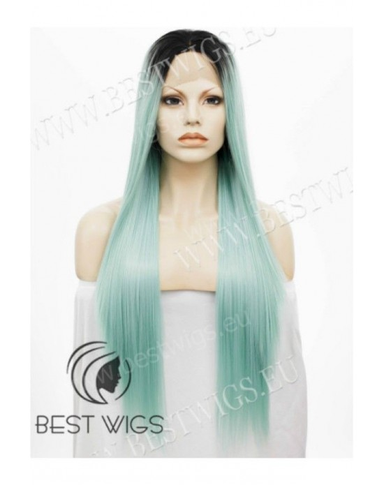Synthetic half-lace wig Stright BabyGreen long hair dark roots (with side part)